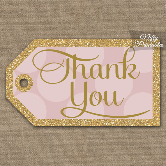 Pink Thank You Tags - Dots Rect