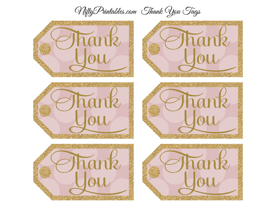 Pink Thank You Tags - Dots Rectangle