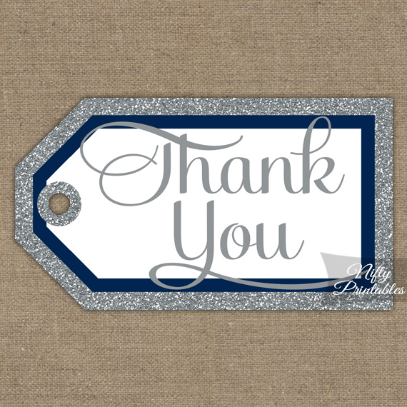 Navy Silver Thank You Tags - Rectangle