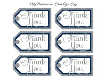 Navy Silver Thank You Tags - Rect