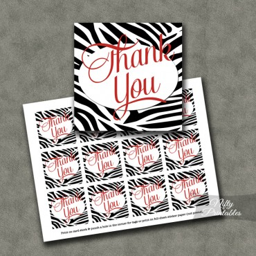Zebra Thank You Favor Tags SQ