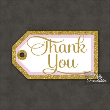 Pink Gold Thank You Tags -Rect
