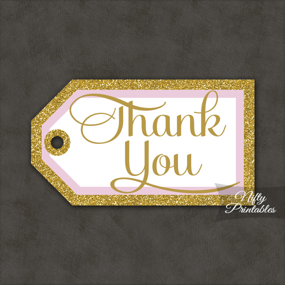 Pink Gold Thank You Tags - Rectangle