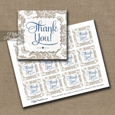 White Lace Blue Thank You Favor Tags SQ