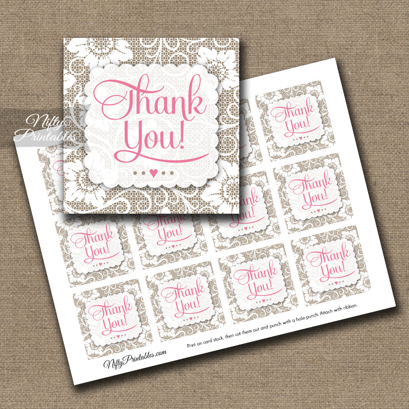White Lace Pink Thank You Favor Tags SQ