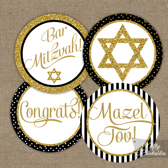 Bar Mitzvah Toppers Black Gold