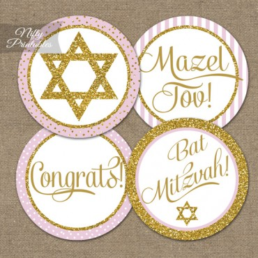 Bat Mitzvah Toppers Pink Gold