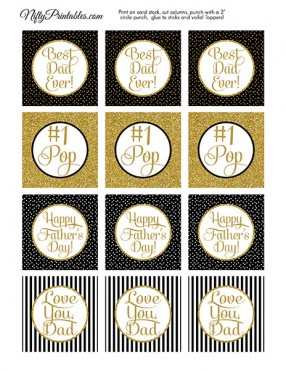 Fathers Day Cupcake Toppers - Black Gold