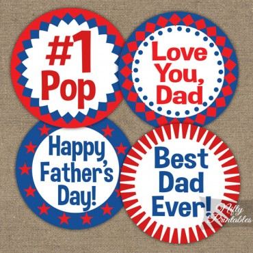 Fathers Day Cupcake Toppers - Red White Blue