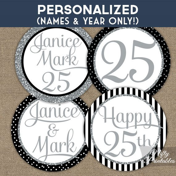 Black Silver Personalized Anniversary Toppers