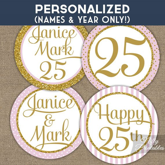 Pink Gold Personalized Anniversary Toppers
