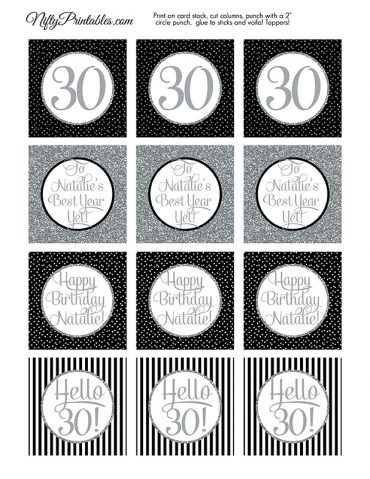 Black Silver Personalized Adult Birthday  Toppers
