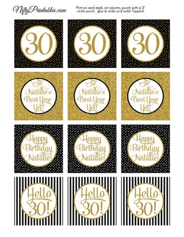 Black Gold Personalized Adult Birthday Cupcake Toppers