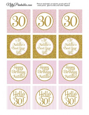 Pink Gold Personalized Adult Birthday Cupcake Toppers