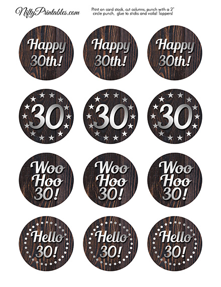 30th Birthday Wood Silver Cupcake Toppers