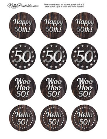 50th Birthday Wood Silver Cupcake Toppers
