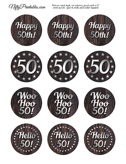 Printable 50th Mens Birthday Toppers Wood Silver