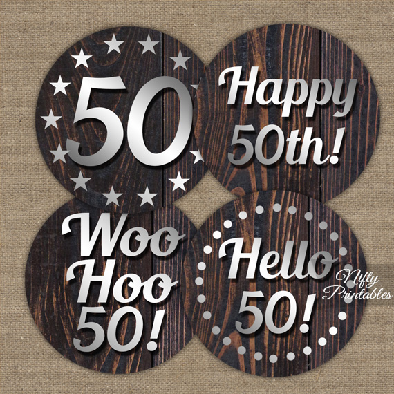 50th Birthday Wood Silver Cupcake Toppers TopBI 50