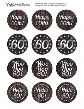 60th Wood Silver Birthday Cupcake Toppers