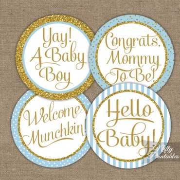 Baby Shower Cupcake Toppers - Light Blue Gold