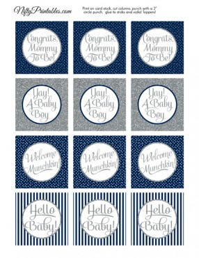 Baby Shower Cupcake Toppers - Navy Blue Silver