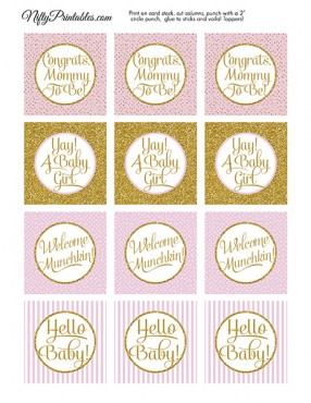Baby Shower Cupcake Toppers - Pink Gold