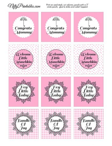 Baby Shower Cupcake Toppers - Pink Black