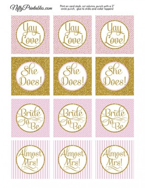 Bridal Shower Cupcake Toppers - Pink Gold