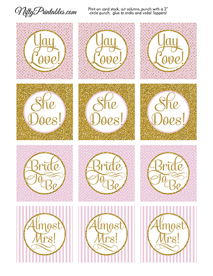 Printable Bridal Shower Cupcake Toppers Pink Gold