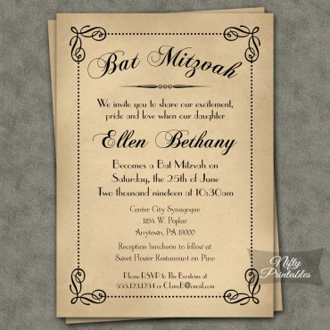 Classic Antique Bat Mitzvah Invitations