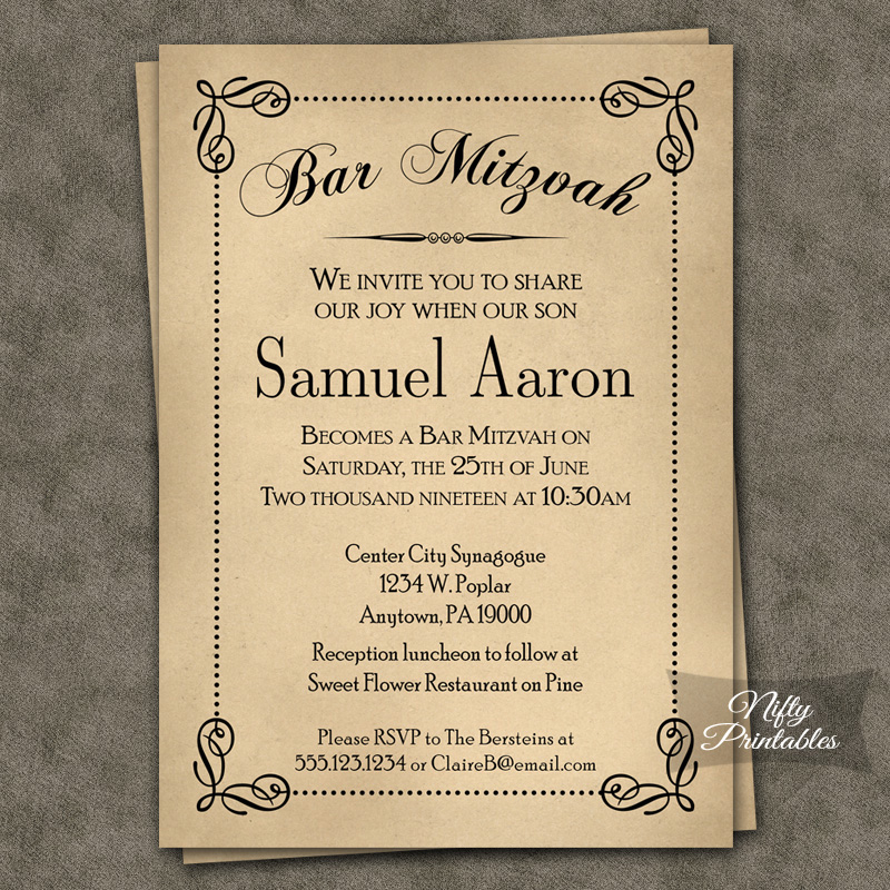 Classic Antique Bar Mitzvah Invitations