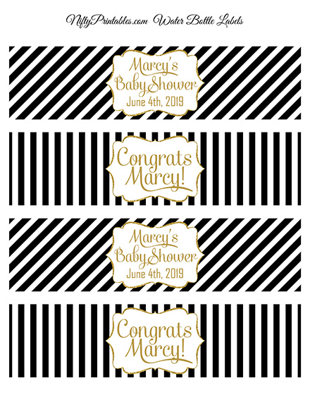Black Gold Stripe Printable Water Bottle Labels
