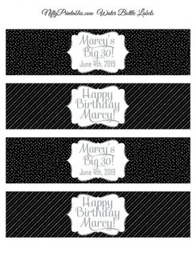 Black Silver Printable Water Bottle Labels