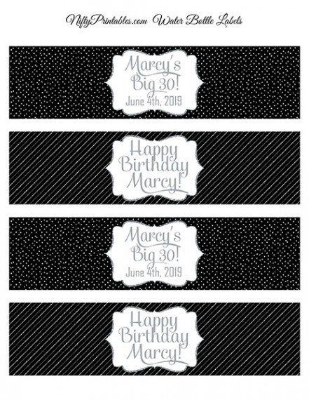 Black Silver Printable Water Bottle Labels