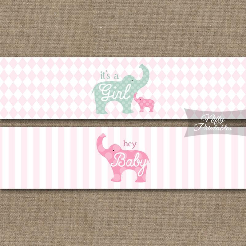 Pink Elephant Baby Shower Water Bottle Labels