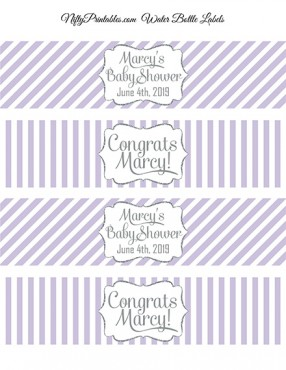 Lilac Silver Printable Water Bottle Labels