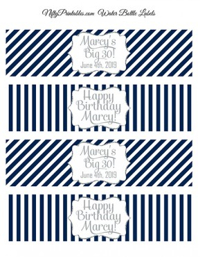 Navy Silver Stripe Printable Water Bottle Labels