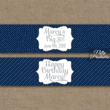 Navy Silver Printable Water Bottle Labels
