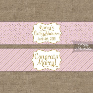 Pink Gold Printable Water Bottle Labels