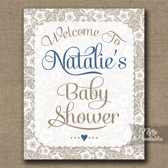 Boy Baby Shower Welcome Sign White Lace Blue