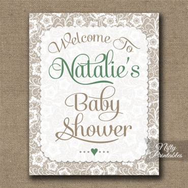 Gender Neutral Baby Shower Welcome Sign White Lace Green