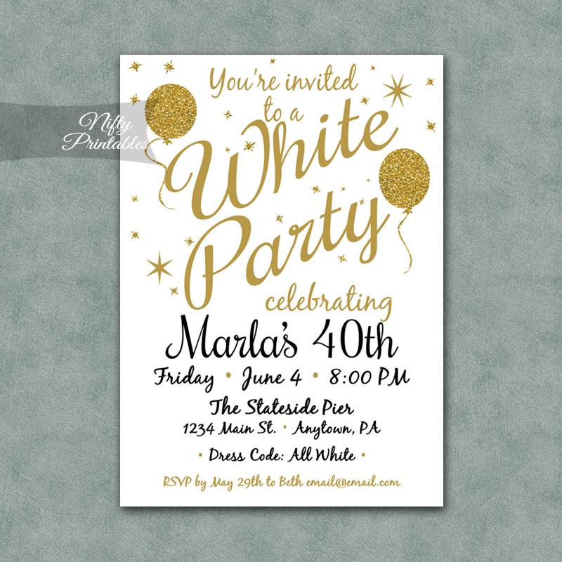 White Party Invitations