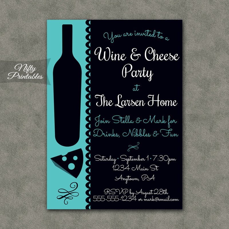 Wine Cheese Turquoise Invitations