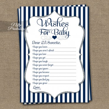 Wishes For Baby Shower Game - Navy Silver