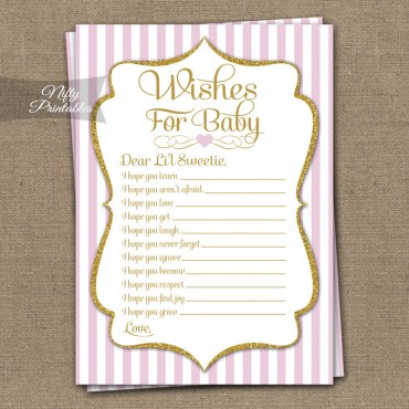 Wishes For Baby Shower Game - Pink Gold