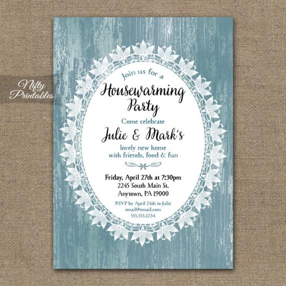 Blue Wood & Lace Housewarming Invitations