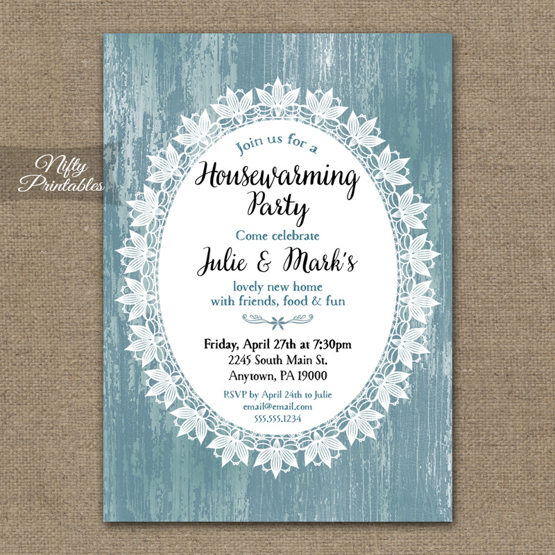 Blue Wood & Lace Housewarming Invitations