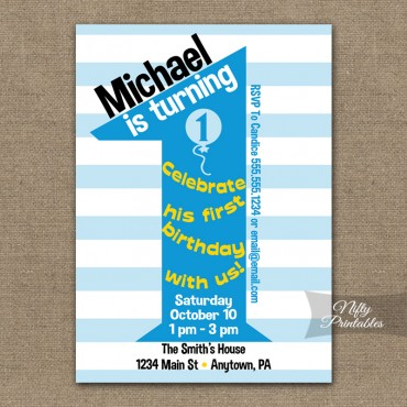 1st Birthday Blue Birthday Invitations
