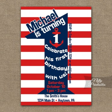1st Birthday Nautical Red White Blue Invitations