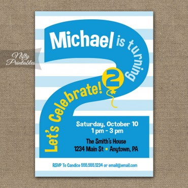 2nd Birthday Blue Birthday Invitations